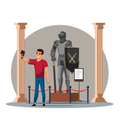 Man taking selfie with knight at historic museum vector