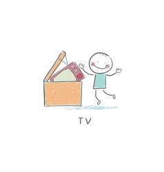 Man throws garbage on TV vector image
