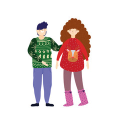 merry christmas couple with ugly sweaters vector image