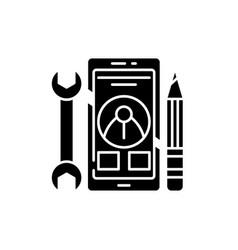 mobile development black icon sign on vector image