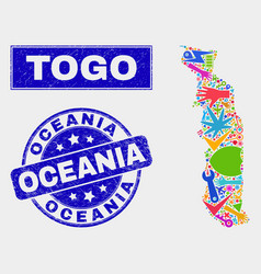 Mosaic service togo map and grunge oceania stamp vector