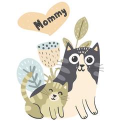 Mother cat and her baby kitten vector