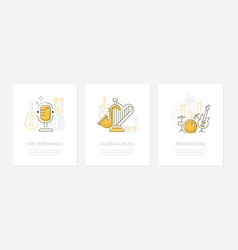 musical instruments and concerts - line vector image