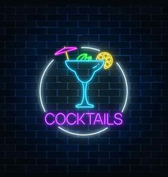 Neon sambuca cocktail sign in circle frame vector