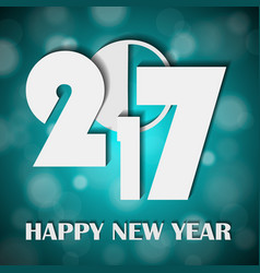 new year 2017 concept on shiny bright turquoise vector image