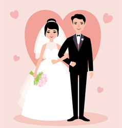 Newlywed couple in love bride and groom in full vector