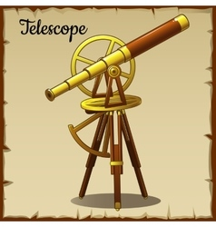 Old golden telescope pointing up vector image