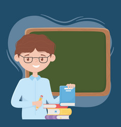 Online education teacher with pencil books and vector