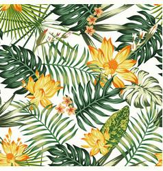 Orange flowers green leaves seamless pattern vector