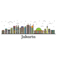 Outline jakarta indonesia city skyline with color vector