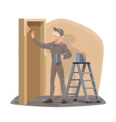 painter man profession home interior wall painting vector image
