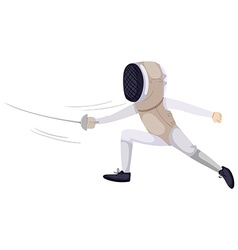 Person doing fencing with sword vector image