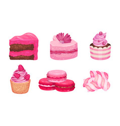 Pink desserts with candy on stick and layered vector