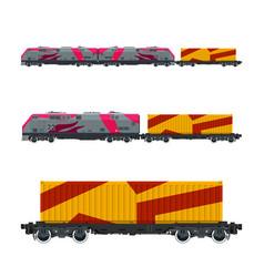 Pink locomotive with orange cargo container vector