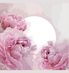Pink peony flowers background with a round label vector