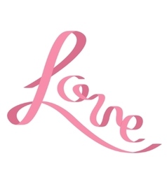 pink satin ribbon in shape word love flat vector image