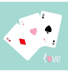 Poker playing card combination with ace of spade vector