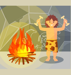 prehistoric boy in animal skin standing near vector image