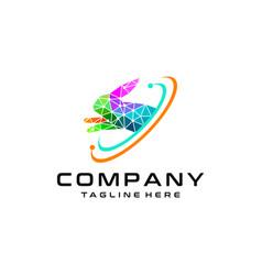 rabbit technology logo template leap vector image