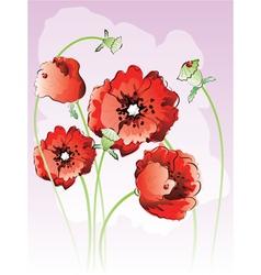 Red Poppy Flowers5 vector