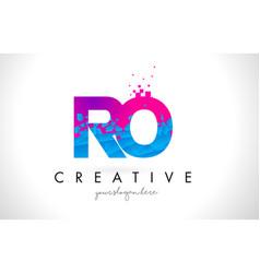 Ro r o letter logo with shattered broken blue vector
