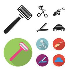scissors brush razor and other equipment vector image