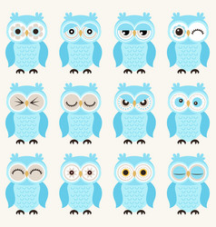 seamless cute baby owls emoji icon pattern funny vector image