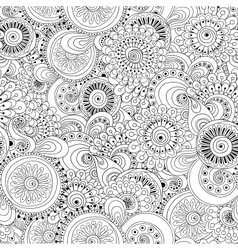Seamless flower black and white retro background vector