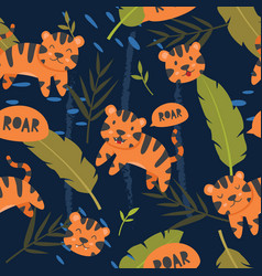 seamless pattern cute tiger vector image