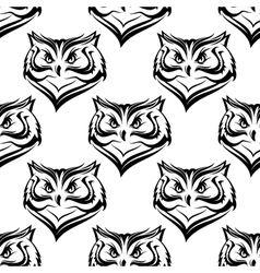 seamless pattern head a fierce owl vector image