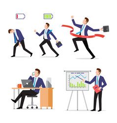 set businessman with briefcase in different vector image