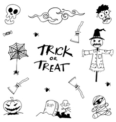Set halloween collection doodle vector image