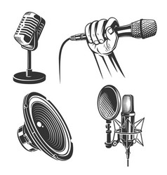 set karaoke singing icons vector image