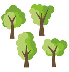Set of four different cartoon green trees vector