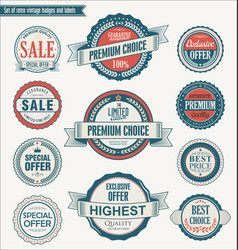 Set of retro vintage blue and red badges vector