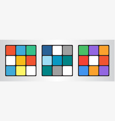 Set of three colored cubes in flat style vector