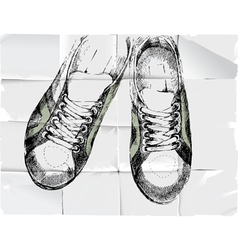 shoose over crumpled paper vector image vector image
