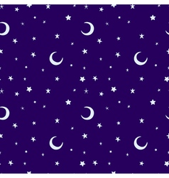 Silver moon and stars sky print seamless pattern vector