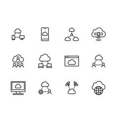 simple set cloud storage line icon vector image
