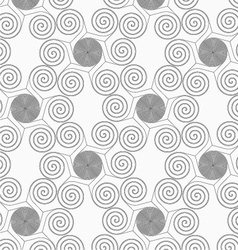Slim gray small striped spirals forming flowers vector