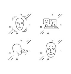 Smile face detection and breathing exercise icons vector