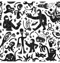Space invaders aliens - seamless background vector