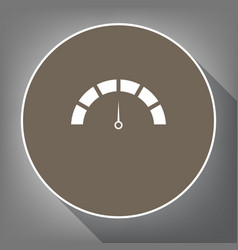 speedometer sign white icon vector image