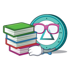 Student with book salt coin mascot cartoon vector