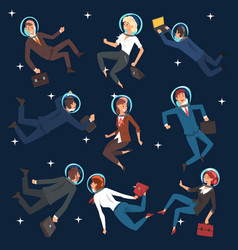 successful business people in suits and astronaut vector image