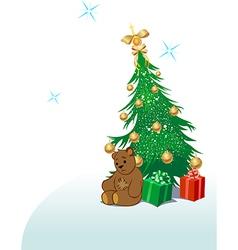 Teddy bear with Christmas tree vector