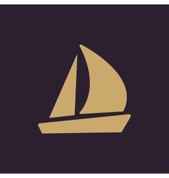 The sailboat icon Sailing ship symbol Flat vector image