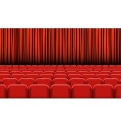 Theater auditorium with rows of red seats and vector