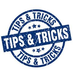 Tips tricks blue round grunge stamp vector