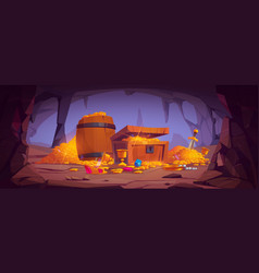 Treasure cave with gold coins in chest and barrel vector